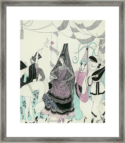 Illustration Of People At A Costume Party Framed Print