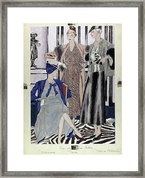 Illustration Of Women In Patou Dresses Framed Print