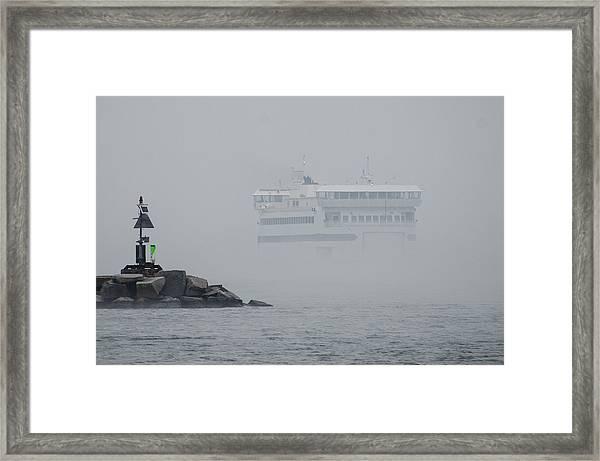 Island Home In Fog Framed Print