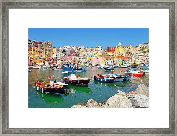 Italy, Procida Island, Corricella Framed Print