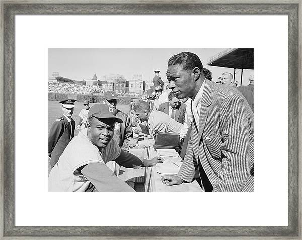 Jackie Robinson And Nat King Cole At Wrigley Field Framed Print by The Harrington Collection