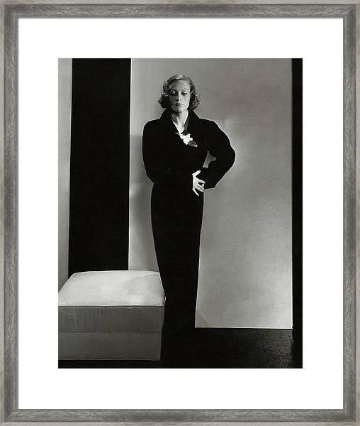 Joan Crawford Wearing A Schiaparelli Dress Framed Print by Edward Steichen