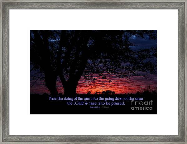 Kansas Sunset - Psalm 113 Framed Print
