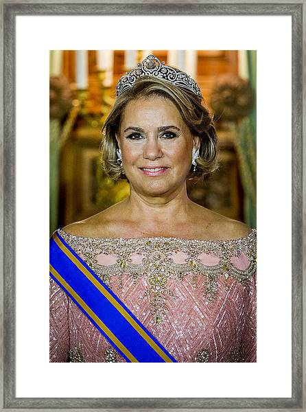 King And Queen Of The Netherlands Visit Luxembourg : Day One Framed Print by Patrick van Katwijk