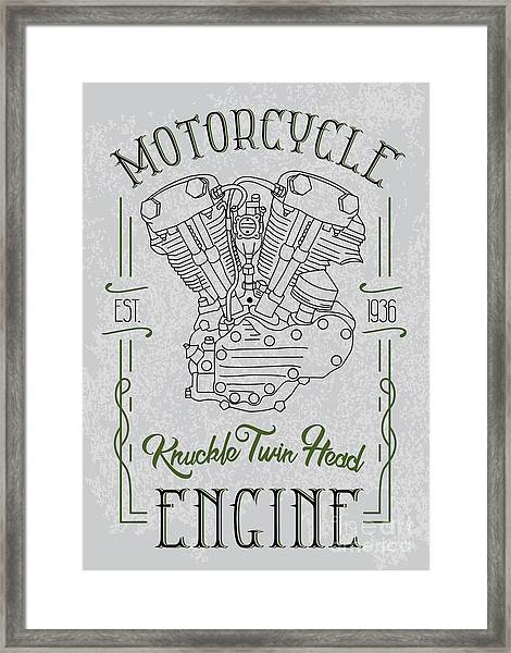 Knuckle Twin Head Motorcycle Engine Framed Print by Sergj