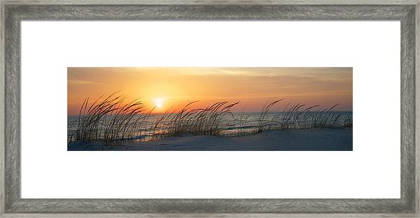 Lake Michigan Sunset Panorama Framed Print