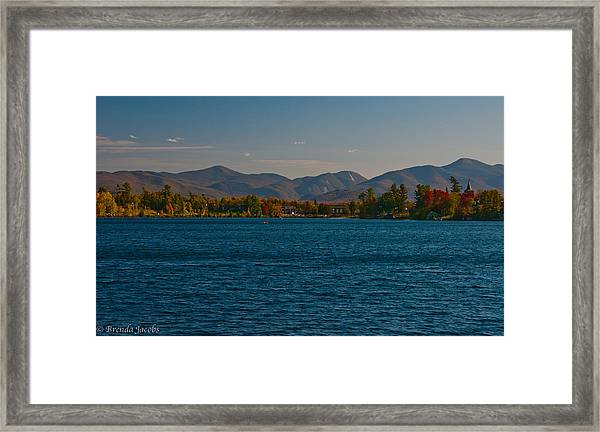 Lake Placid And The Adirondack Mountain Range Framed Print