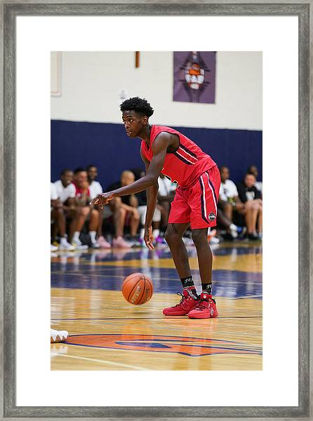 Lebron James And Dwyane Wade Watch Zaire Wade's Aau Game Framed Print by Cassy Athena