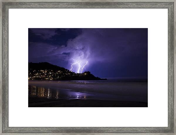 Lightning Over The Ocean Framed Print