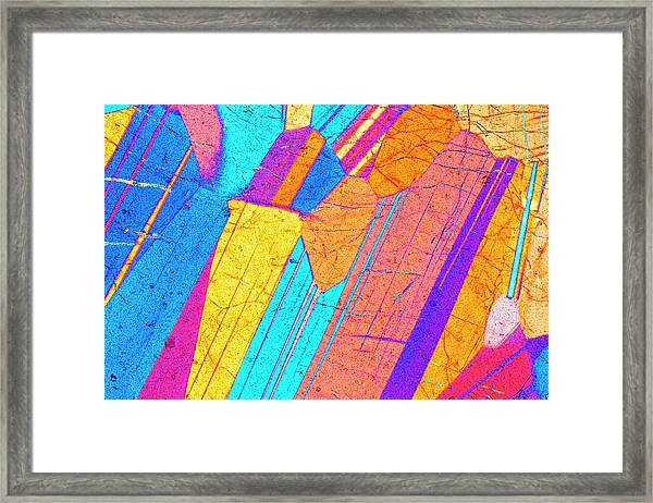 Lm Of A Thin Section Of Gabbro Rock Framed Print by Alfred Pasieka/science Photo Library
