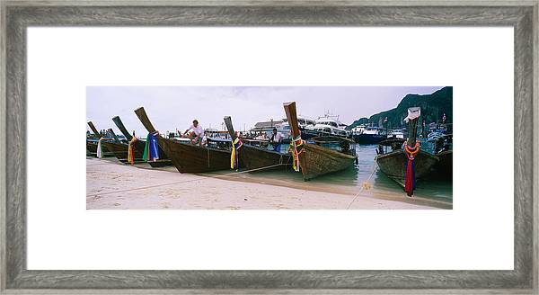 Longtail Boats Moored On The Beach, Ton Framed Print