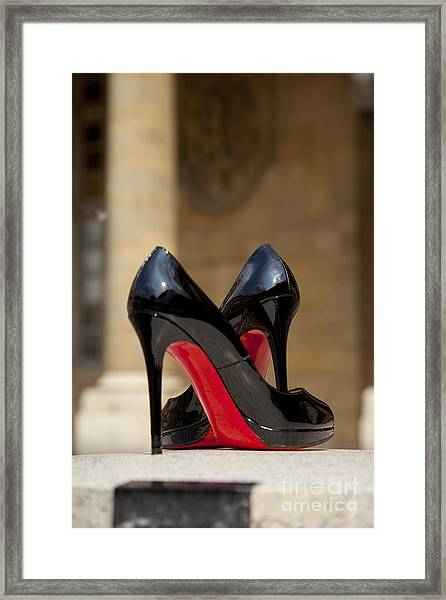 Framed Print featuring the photograph Louboutin Heels by Brian Jannsen