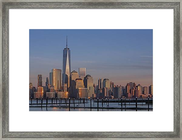 Framed Print featuring the photograph Lower Manhattan Skyline by Susan Candelario