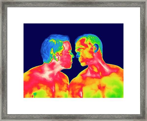 Male Couple Kissing Framed Print