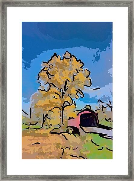 Maryland Covvered Bridge In Autumn Framed Print
