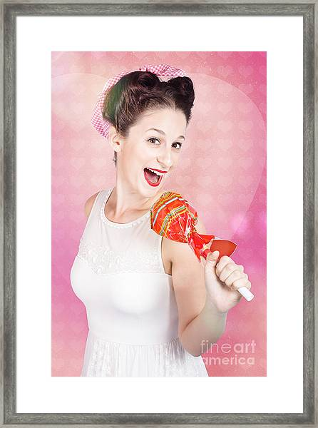 Mc Female Pin Up Singing With Lollipop Microphone Framed Print