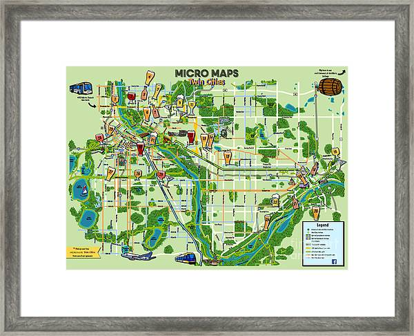 Micro Maps Twin Cities Framed Print