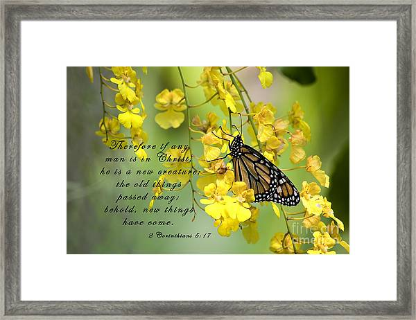Monarch Butterfly With Scripture Framed Print