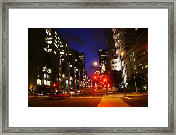Montreal By Night Framed Print by Isabel Poulin