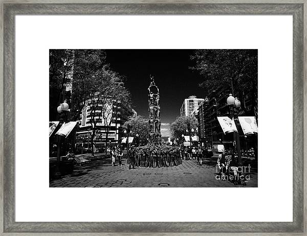 Monument To The Castellers On Rambla Nova Avenue In Central Tarragona Catalonia Spain Framed Print by Joe Fox