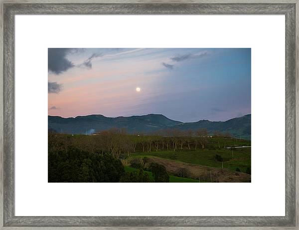 Moon Over The Hills Of Povoacao Framed Print