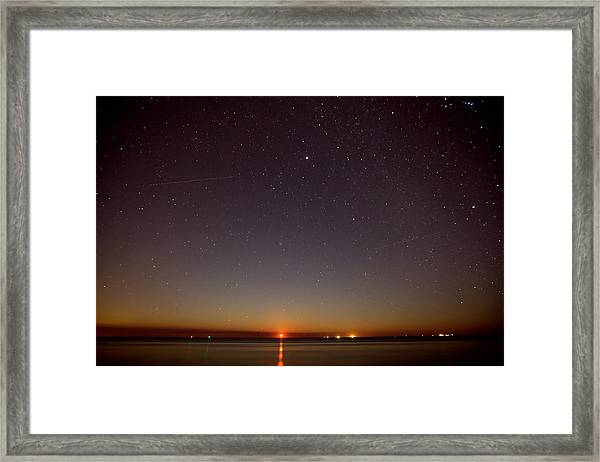 Moonrise On Tybee Island Framed Print