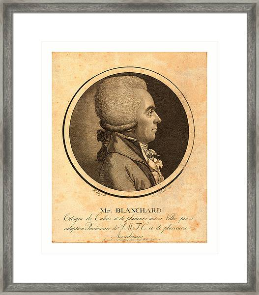 Mr. Blanchard, Living In Calais Framed Print by French School