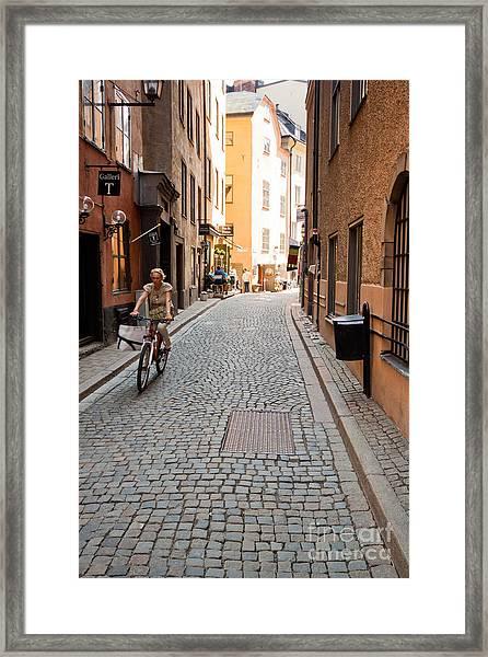 Narrow Stockholm Street Sweden Framed Print