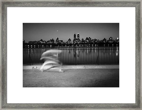 Night Jogger Central Park Framed Print