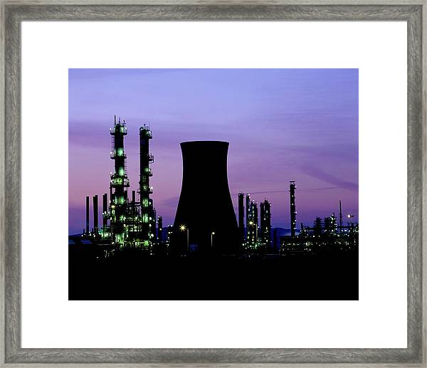 Night Time View Of A Bp Petrochemical Plant Framed Print