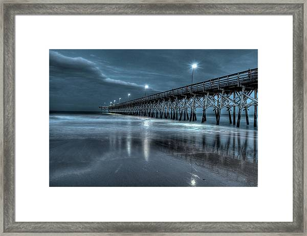 Nighttime At The Pier Framed Print