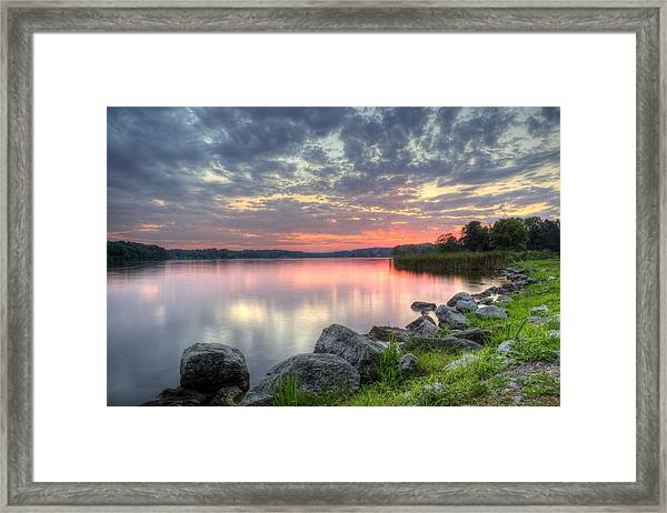Ohio Lake Sunset Framed Print
