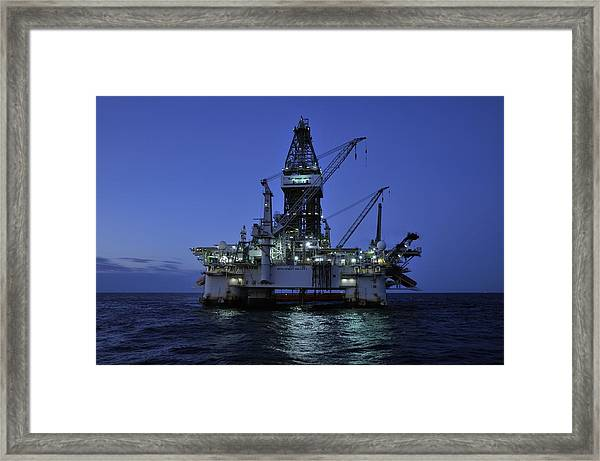 Oil Rig At Night Framed Print