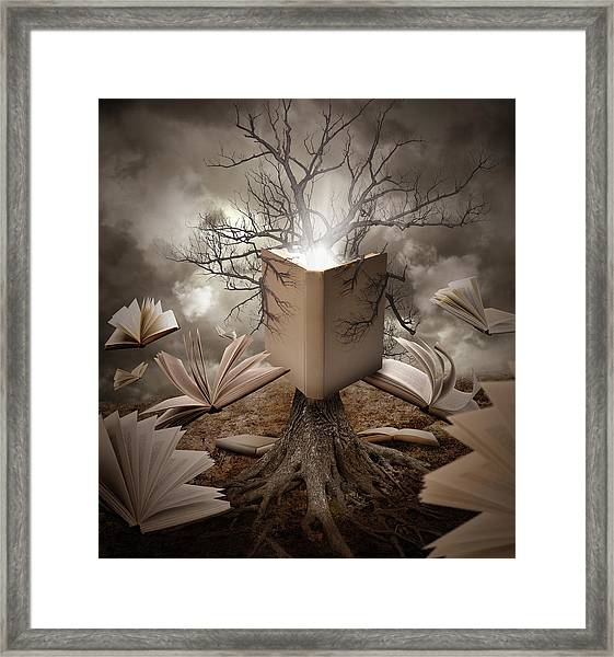 Old Tree Reading Story Book Framed Print