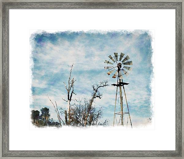 Framed Print featuring the photograph Old West Wind Wheel by William Havle