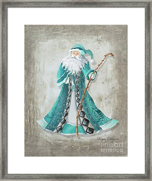 Old World Style Turquoise Aqua Teal Santa Claus Christmas Art By Megan Duncanson Framed Print