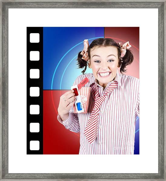 Overjoyed Nerd Woman At 3d Movie Premier Framed Print