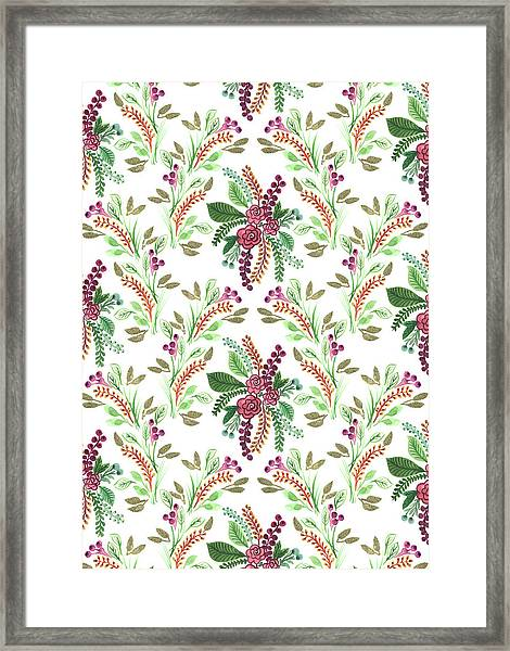 Painted Nature Coordinating Foliage Leaves Festive Pattern.jpg Framed Print