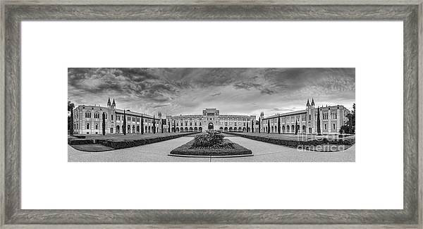Panorama Of Rice University Academic Quad Black And White - Houston Texas Framed Print