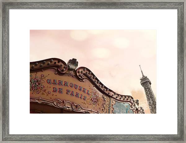 Paris Eiffel Tower And Carousel Merry Go Round - Paris Carousels Champ Des Mars Eiffel Tower Framed Print