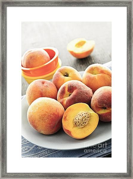 Peaches On Plate Framed Print