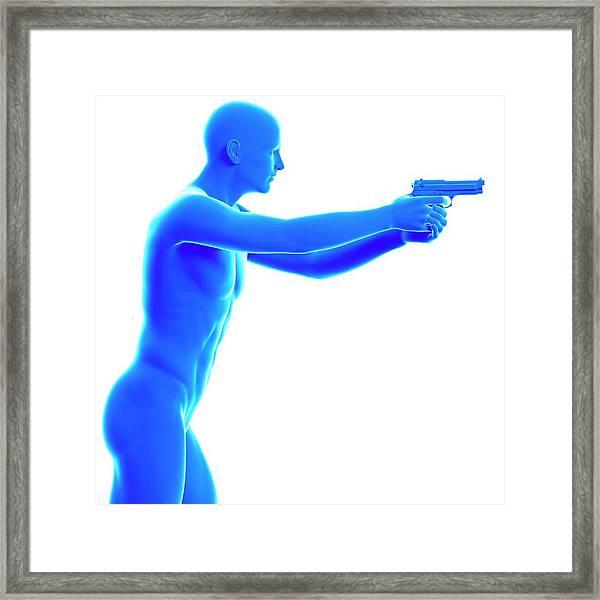Person Holding Gun Framed Print by Sebastian Kaulitzki/science Photo Library