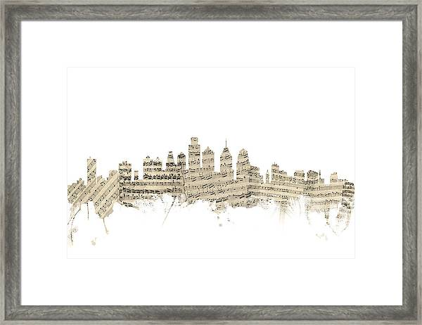 Philadelphia Pennsylvania Skyline Sheet Music Cityscape Framed Print