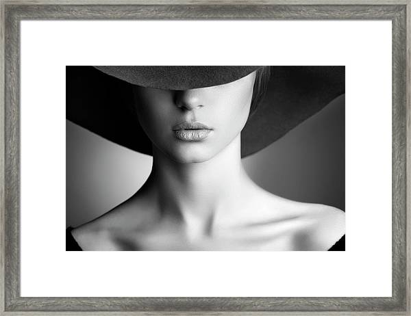 Photo Of Beautiful Woman In Retro Style Framed Print