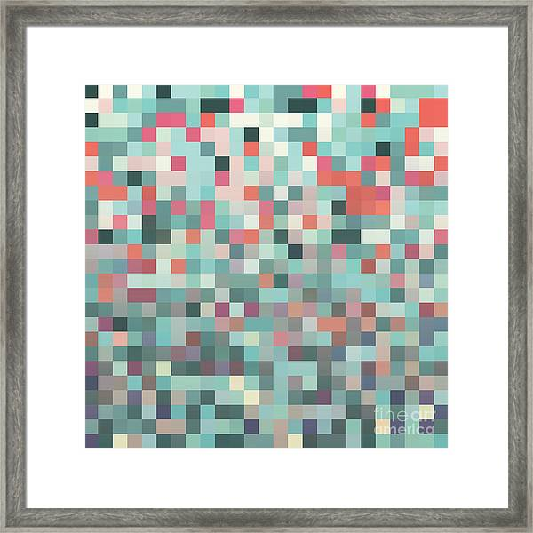 Pixel Art Style Pixel Background Framed Print