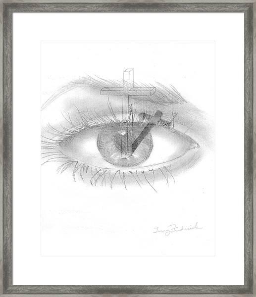 Plank In Eye Framed Print