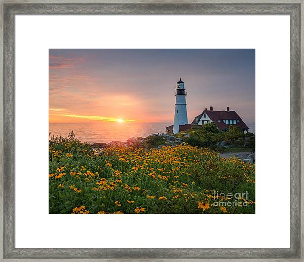 Portland Head Light Sunrise  Framed Print