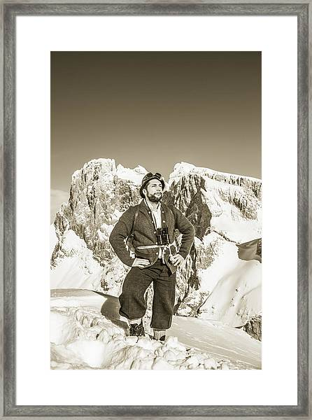 Portrait Of A Bearded Man In Old Nostalgic Skiing Outfit Framed Print by Leander Nardin