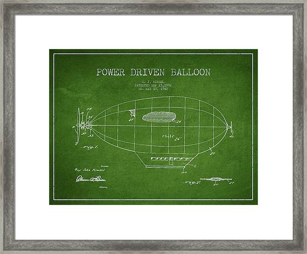 Power Driven Balloon Patent Framed Print