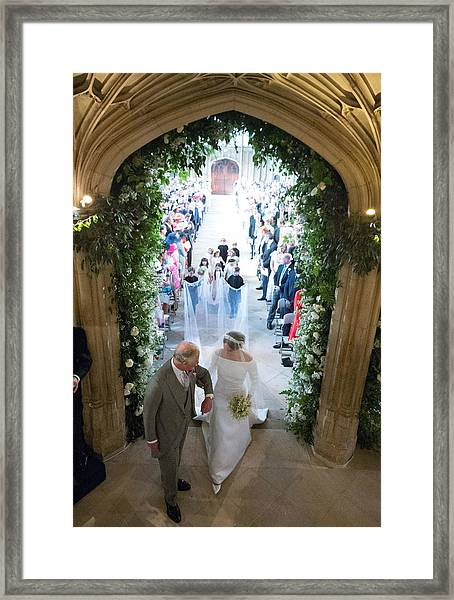 Prince Harry Marries Ms. Meghan Markle - Windsor Castle Framed Print by WPA Pool